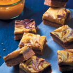 Lemon curd and Nutella squares with a peanut base