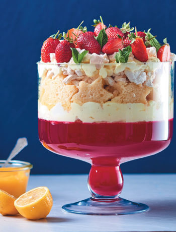 Strawberry, Madeira and lemon curd trifle
