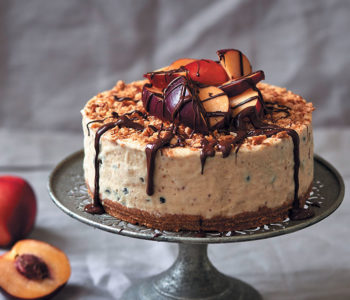 Nectarine, coconut and rum ice cream cake
