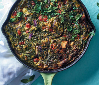 Pesto and veggie frittata