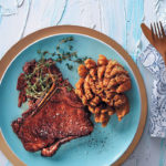 Sweet and sticky T-bone steak with blooming onions