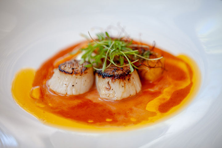Anima chenin blanc 2015 - seared scallops, fermented pineapple, lime & palm sugar, cinnamon oil