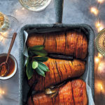 Hasselback butternuts with bay leaves, cinnamon and sage