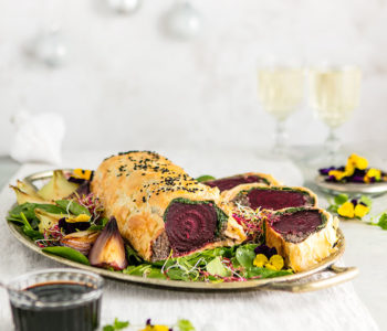 Beet wellington with balsamic reduction