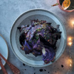 Charcoal-smoked cabbage with maple-mustard vinaigrette