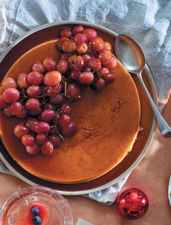 Spiced citrus crème caramel with honeyed grapes