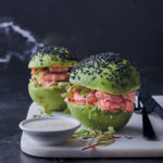"Avocado, prawn and smoked trout ""burgers"" with yoghurt-mayo dressing"