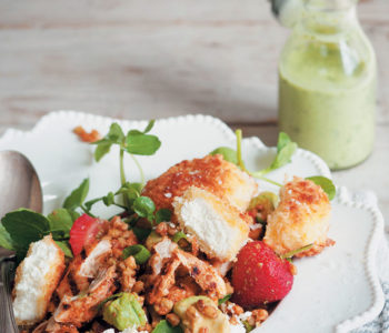 Crumbed buchette, harissa-grilled chicken and barley salad with a creamy basil dressing