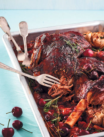 Slow-cooked leg of lamb with cherries