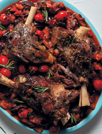 Slow-roasted lamb shanks with aubergine-and-tomato stew