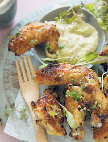 Avocado and herb mayonnaise-marinated chicken wings
