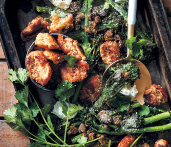 Broccolini with crispy fried capers, rustic croutons and goat's cheese