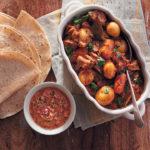 Lamb curry with warm rotis and sambal