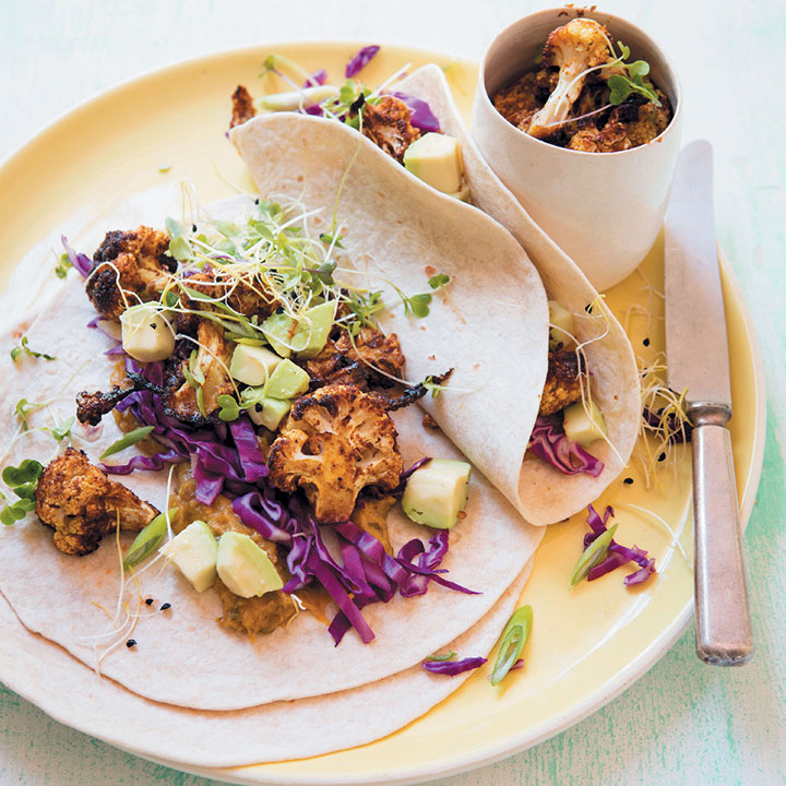 Soft tacos with curry-roasted cauliflower and pumpkin spread