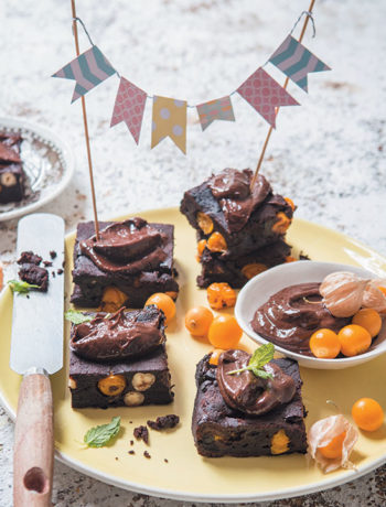 Vegan gooseberry and hazelnut brownies with cocoa and avo icing