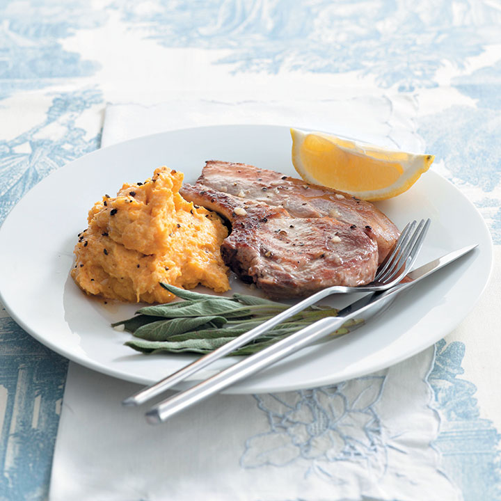 Pork chops with sage and butternut mash