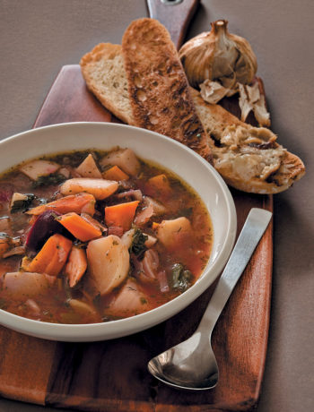 Baby root-vegetable soup with baked garlic toast
