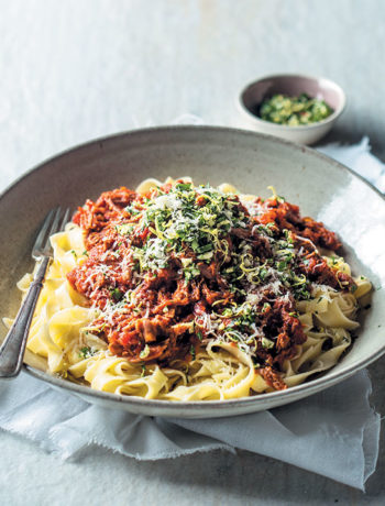 Beef ragu with pasta and gremolata