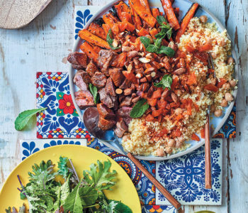 Moroccan harvest platter with spice-roasted carrots, lamb and millet