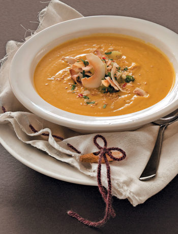 Sweet potato and sesame soup with toasted coconut