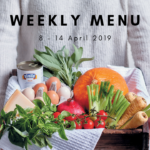 Weekly menu: 8 – 14 April 2019