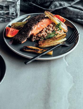 Liquorice and black garlic-crusted salmon with buckwheat salad