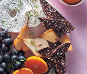 Winter cheeseboard with sesame-cocoa bark