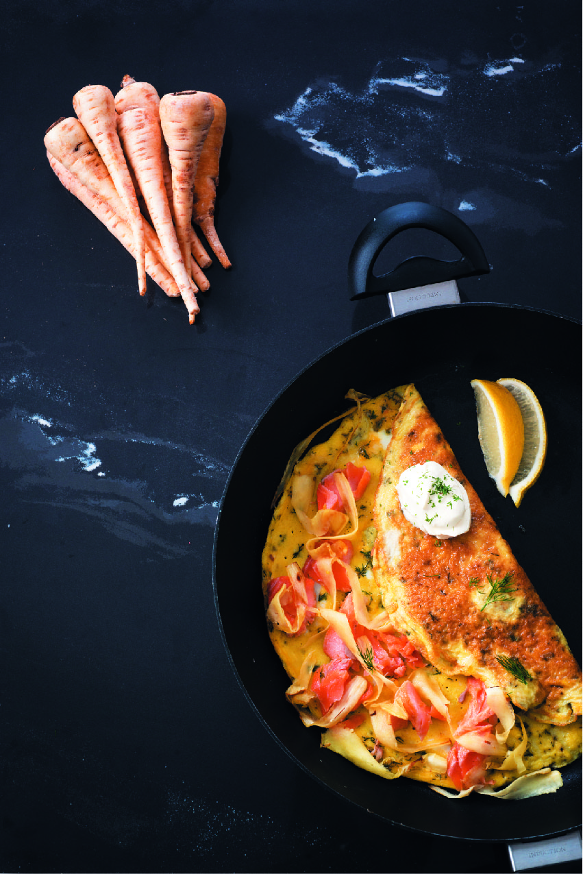 Parsnips, smoked trout and dill omelette