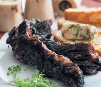 Red wine-braised short ribs with marrow and parsley