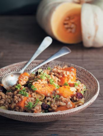 Honey-roasted pumpkin, barley and cranberry salad