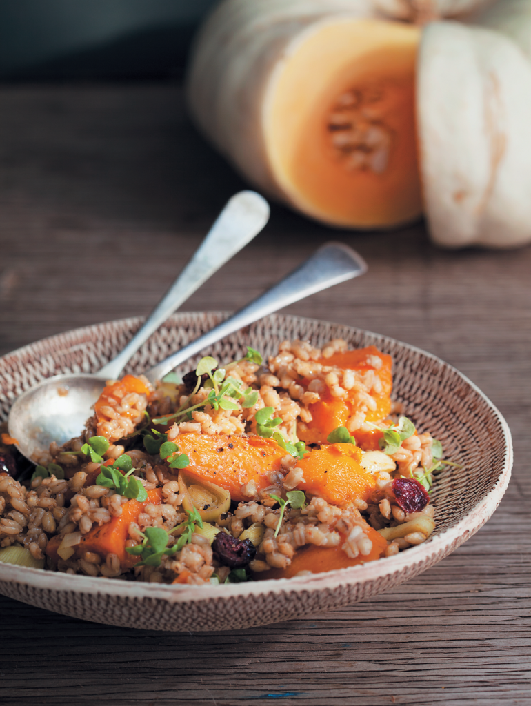 Honey-roasted pumpkin, barley and cranberry salad
