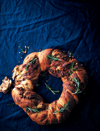 Milk chocolate, hazelnut and rosemary brioche wreath