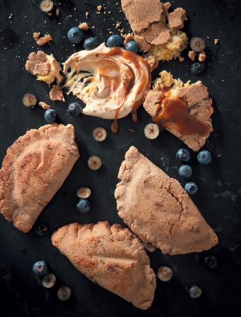 "Spiced banana and rum empanada braai pies"" with dulce de leche"