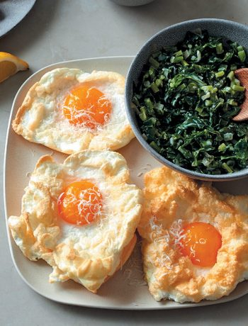 Egg clouds with coconut creamed kale and gluten-free mustard toast