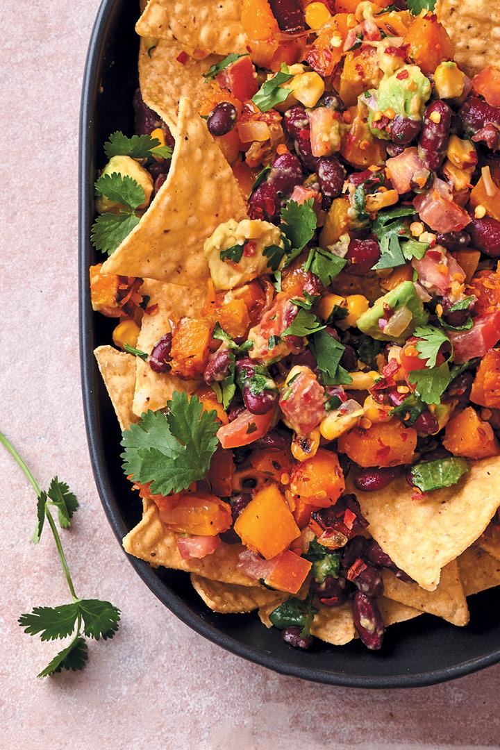 Vegan nachos with bean-and-avocado salsa