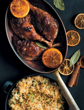 Duck legs in plum sauce with egg-fried rice