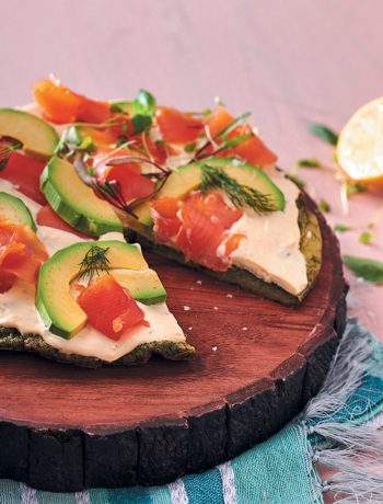 Herby frittata pizza with avocado and smoked trout ribbons