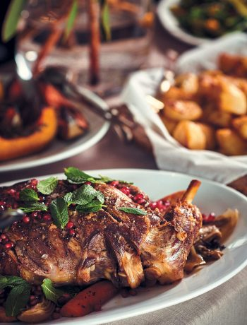 Roast leg of lamb with mint and pomegranate rubies