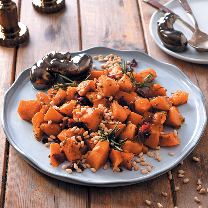 Roasted pumpkin, rosemary, cranberry and pine-nut salad