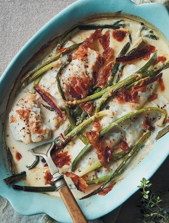 Baked kingklip with creamy leeks and pancetta