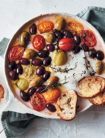 Baked vegan feta with white wine and olives