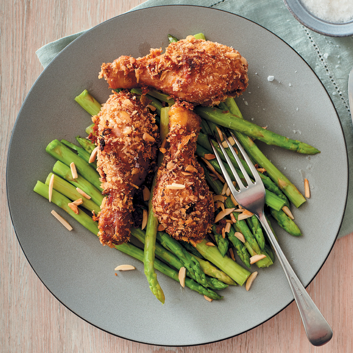 Crunchy buttermilk chicken drumsticks with asparagus and almonds