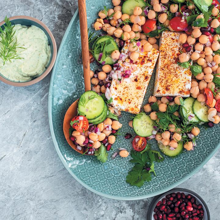 Persian chickpea salad with marinated vegan feta and minted tahini dressing