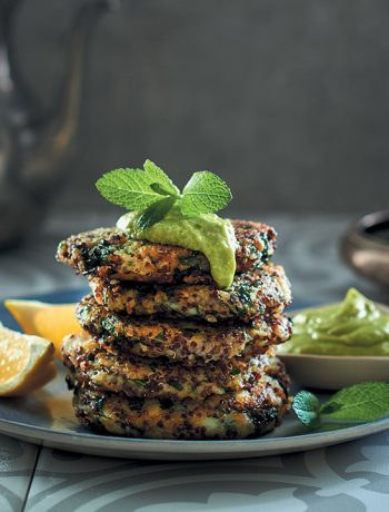 Spicy maakouda (potato fritter) stack with avocado mayonnaise