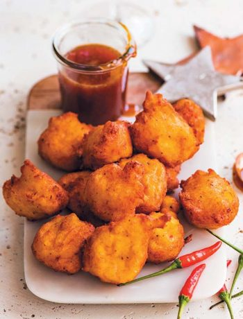 Vegan pumpkin fritters with chilli-miso caramel dipping sauce