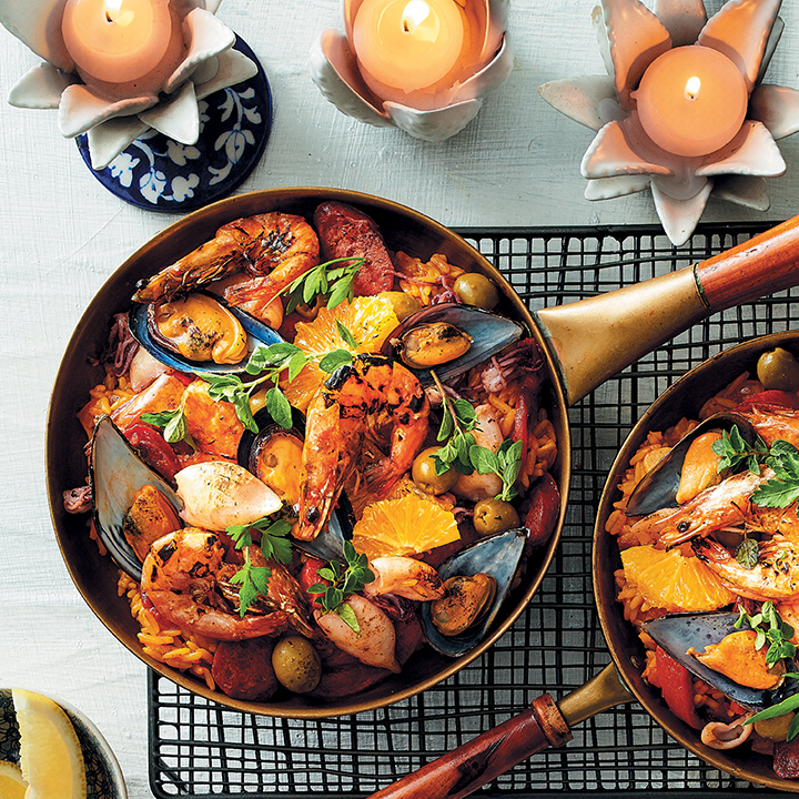 Seafood paella with saffron rice