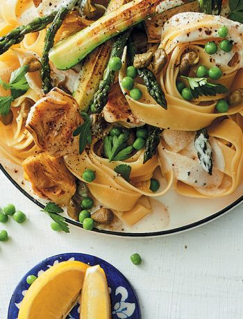 Vegan summer pappardelle with lemon-cashew cream