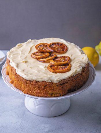 Lemon polenta cake with vanilla cream cheese icing