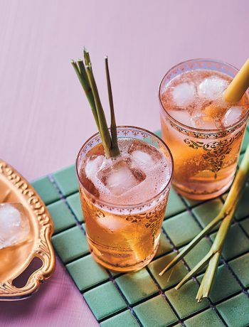 Pink gin and tonic with rooibos and lemongrass