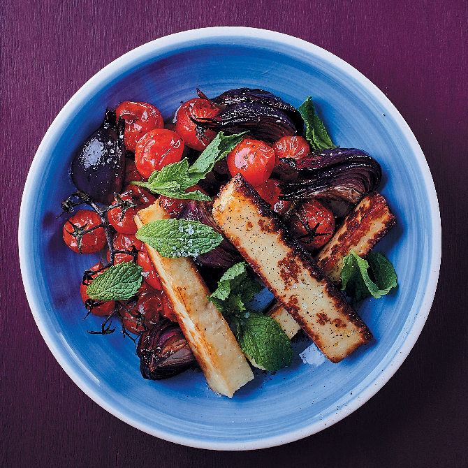 Roasted veggies and haloumi salad